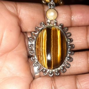 Tiger's Eye and Faux Pearl Necklace